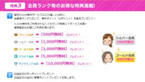 【特典③】会員ランク毎のお得な特典満載!